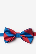 Royal Blue Microfiber Royal Blue & Red Stripe Pre-Tied Bow Tie