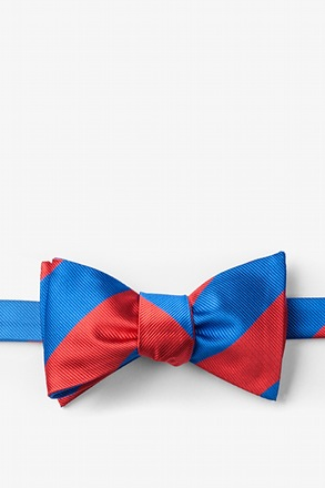 Royal Blue & Red Stripe Self-Tie Bow Tie