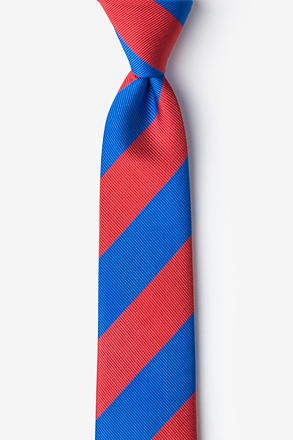 Royal Blue & Red Stripe Skinny Tie