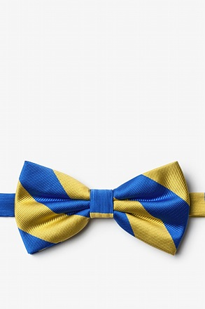Royal Blue And Gold Stripe Pre-Tied Bow Tie