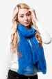 Royal Blue Polyester Floral Crosses Scarf