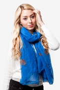 Floral Crosses Royal Blue Scarf by Scarves.com