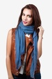 Royal Blue Viscose Contrast Stitch Scarf