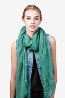Seafoam Green Polyester Safi Studded Scarf