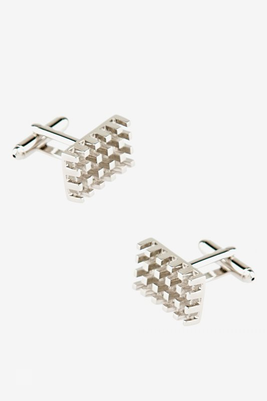 3-D Grid Silver Cufflinks Photo (0)