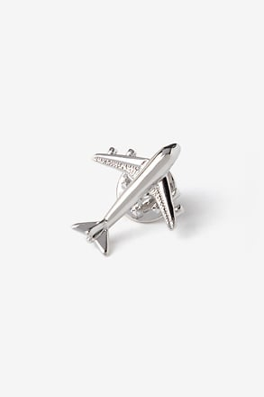 Airplane Silver Lapel Pin
