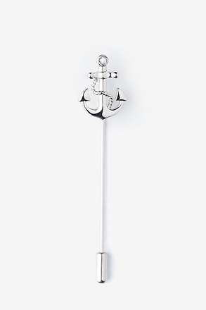 Anchor With Rope Silver Lapel Pin