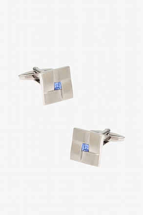 Basket With Blue Square Stone Cufflinks