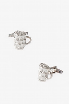 Beer Mug or Cup a Joe Silver Cufflinks