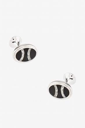 Black W/ Rhinestone Oval Cufflinks