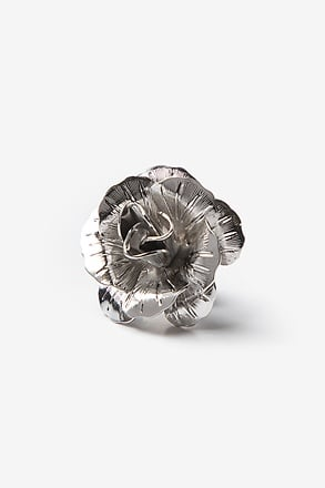 _Blooming Rose Silver Lapel Pin_