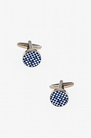Blue Check Circle Cufflinks