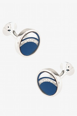 Blue Crescent Gemstone Cufflinks