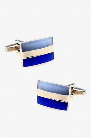 Blue Tricolor Rectangle Cufflinks