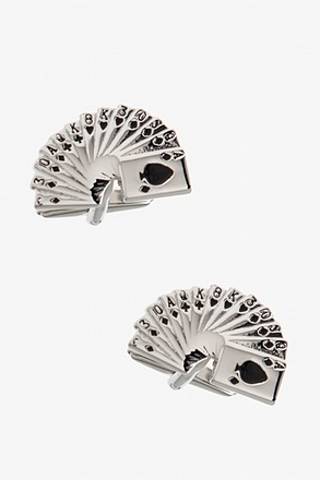 _Card Deck Silver Cufflinks_