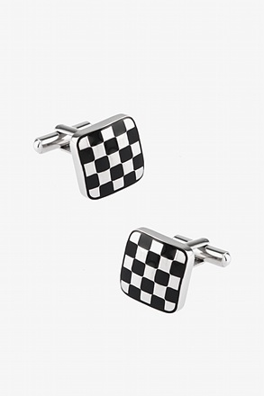 Checker Board Silver Cufflinks