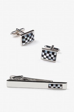 Checkered Rectangle Cufflink & Tie Bar Set