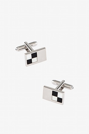 Checkered Rectangle Silver Cufflinks