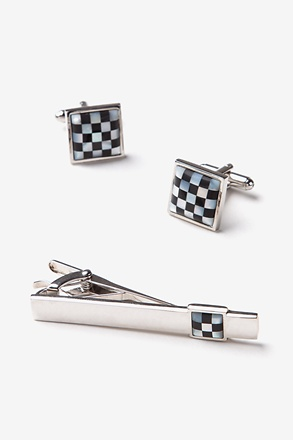 Checkered Square Cufflink & Tie Bar Set