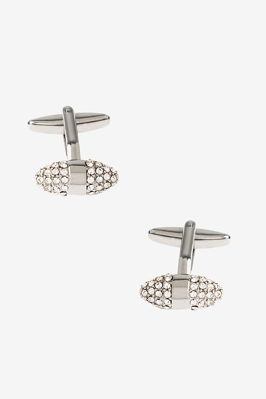 Clasped Bean Silver Cufflinks Photo (0)