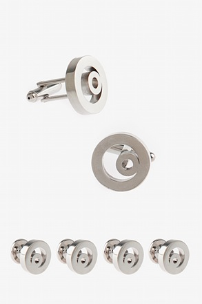 _Curly Circle Cufflink & Stud Set_