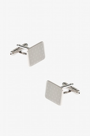 Etched Linear Silver Cufflinks