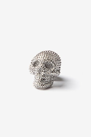 _Fancy Skull Silver Lapel Pin_