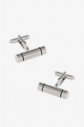Green Barrel Stripe Cufflinks