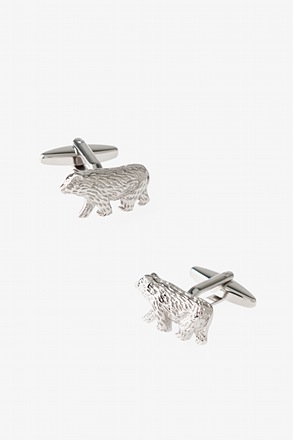 _Hairy Bear Silver Cufflinks_
