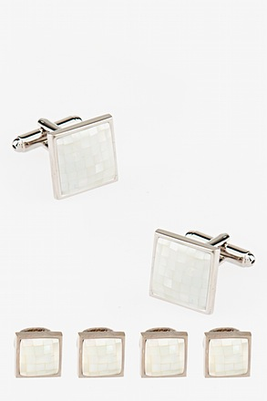 M.O.P. Tiled Square Cufflink & Stud Set
