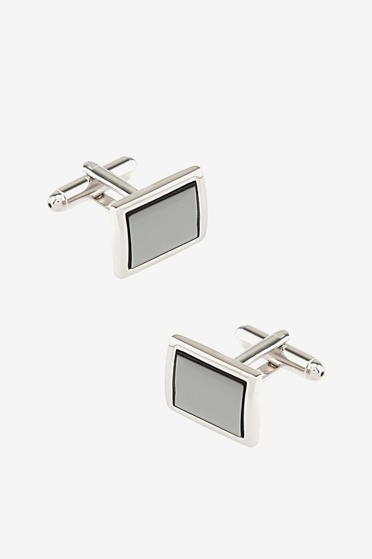 Silver Metal Mirrored Frame Cufflinks | Ties.com