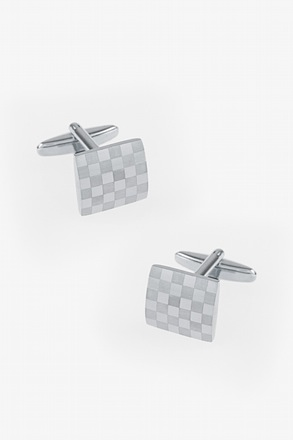 Monochrome Square Check Silver Cufflinks
