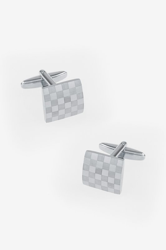 Monochrome Square Check Silver Cufflinks Photo (0)