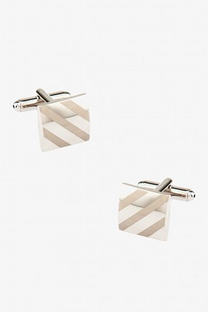 Monochrome Square Diagonal Stripe Cufflinks