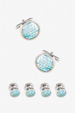 Mosaic Round (mother of pearl) Silver Cufflink & Stud Set