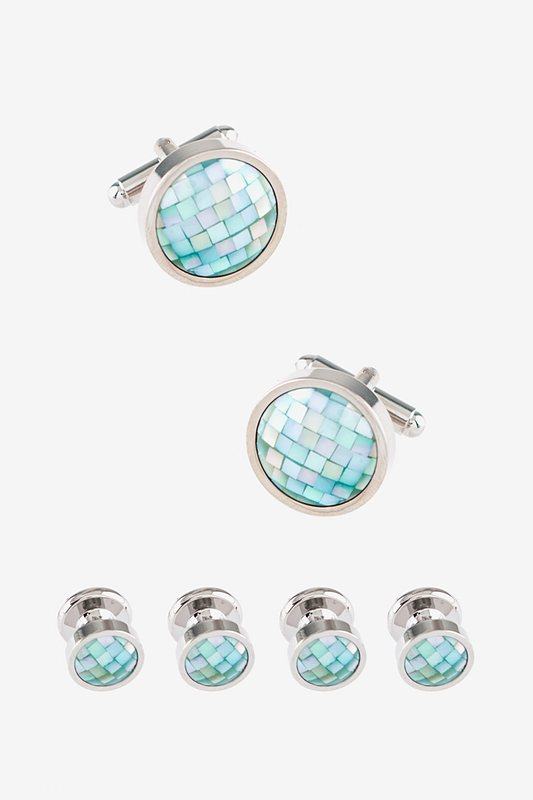 Mosaic Round (mother of pearl) Silver Cufflink & Stud Set Photo (0)
