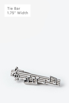 Music Notes Silver Tie Bar