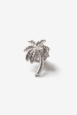 Palm Tree Silver Lapel Pin