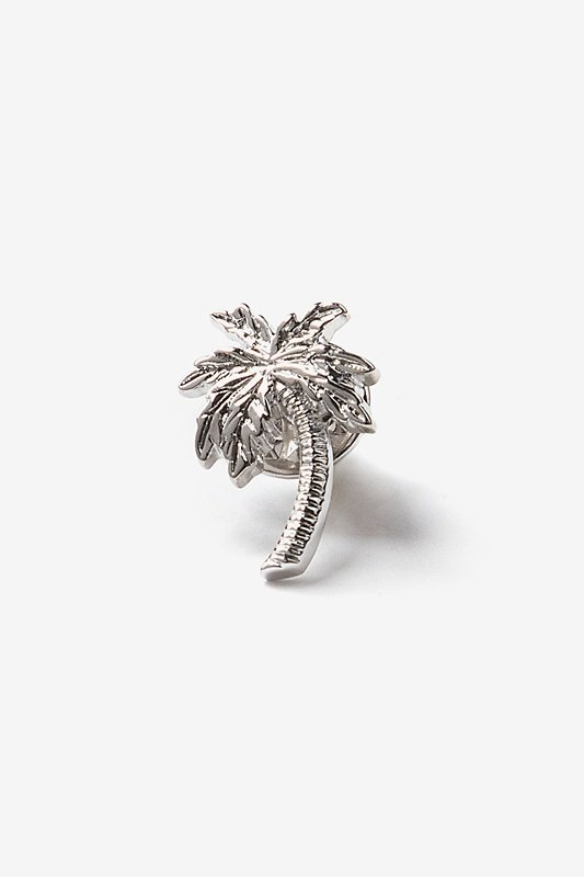 Palm Tree Silver Lapel Pin Photo (0)