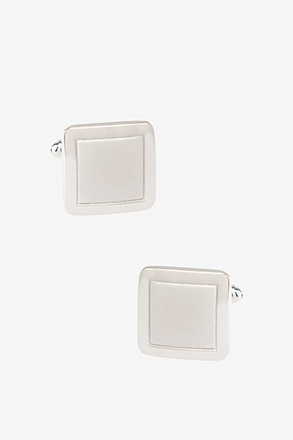 Polished Monochrome Square Frame Silver Cufflinks