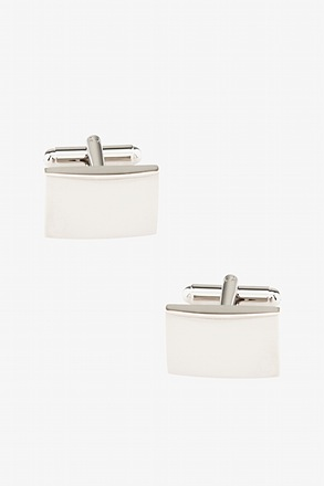 Polished Rounded Rectangle Silver Cufflinks