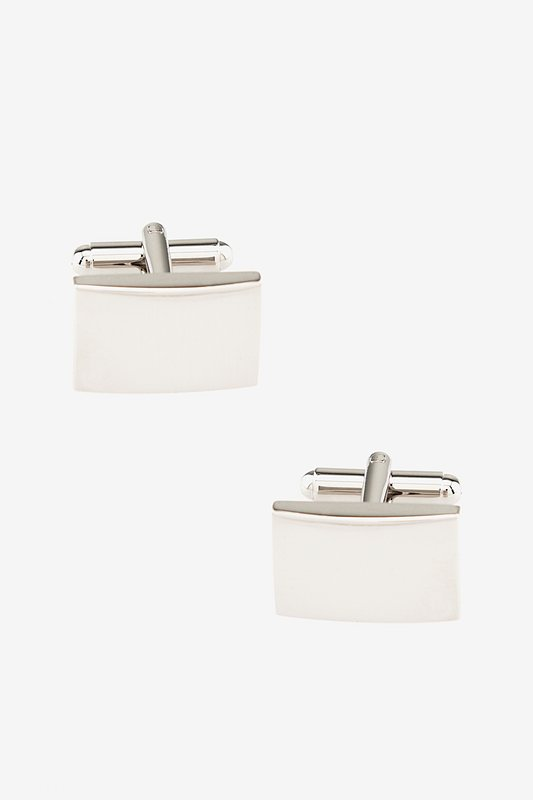 Polished Rounded Rectangle Silver Cufflinks Photo (0)