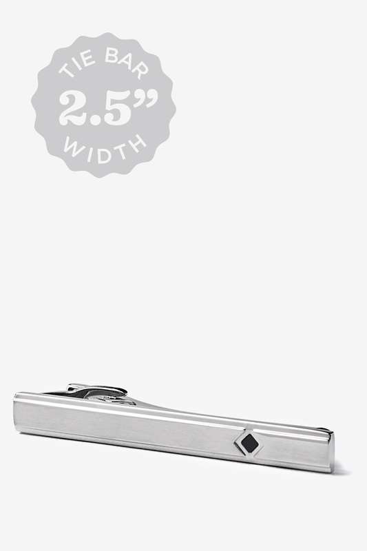 Polished With Jet Diamond Shape Tie Bar