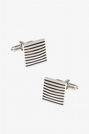 Pyramid stripe Silver Cufflinks