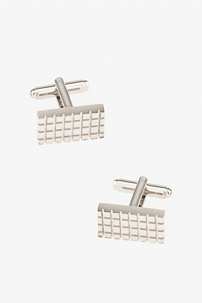 Rectangle Grid Silver Cufflinks
