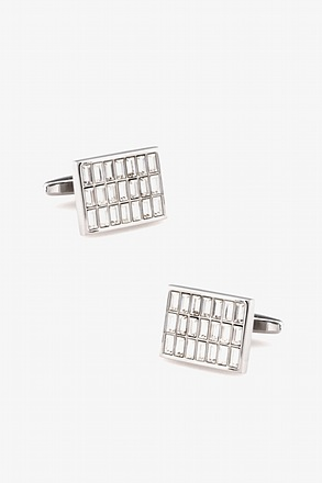 Rectangular Rhinestone Grid Cufflinks