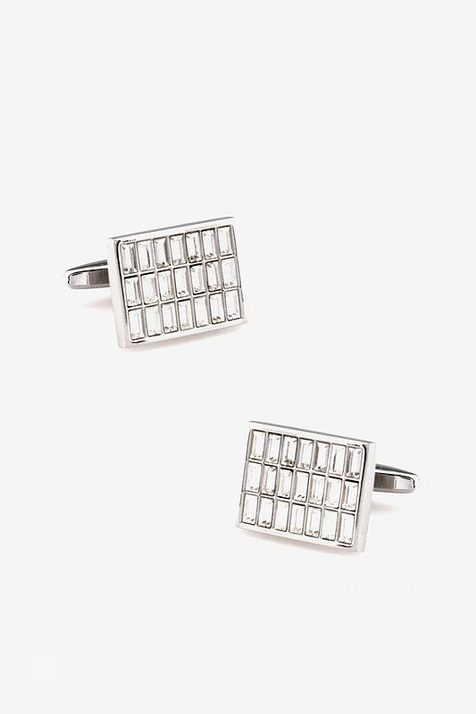 Rectangular Rhinestone Grid Silver Cufflinks Photo (0)