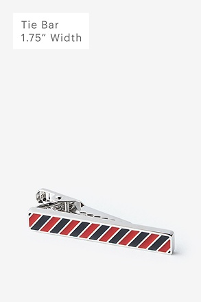 Red & Blue Stripe Silver Tie Bar