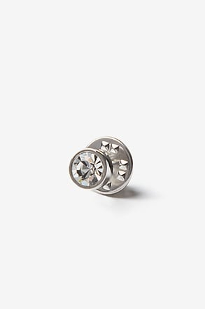 _Round jewel Silver Lapel Pin_