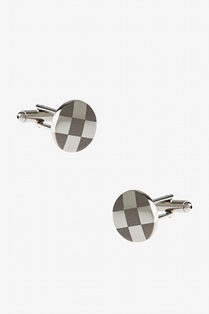 _Round Monochrome Check Cufflinks_